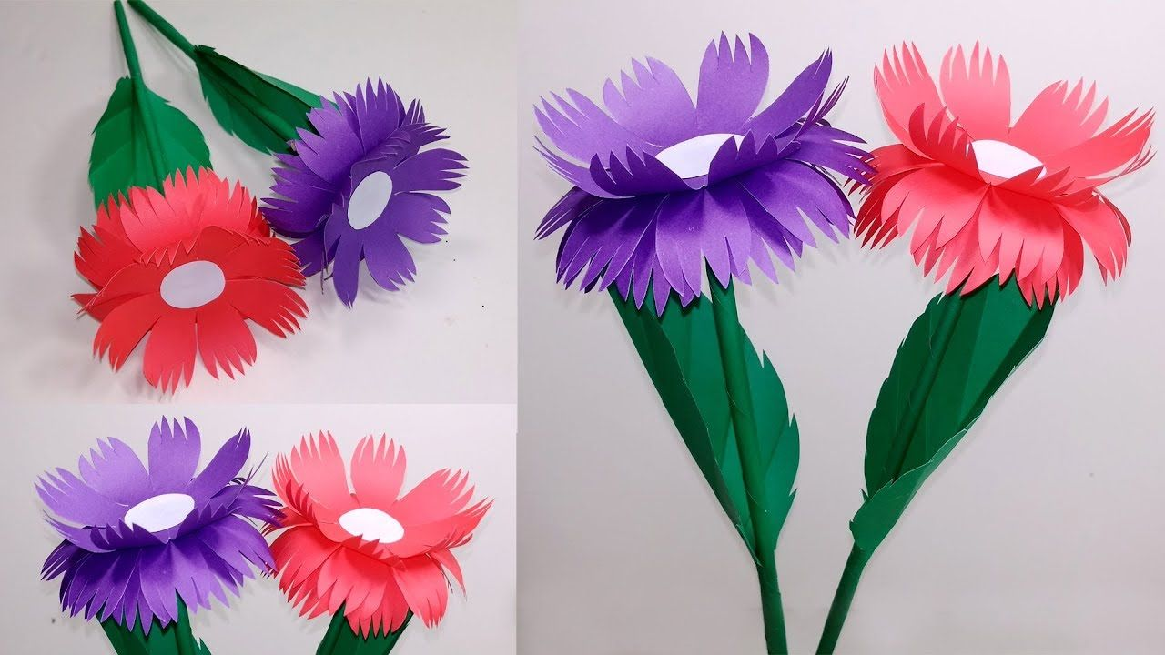 Stick Flowerhow To Make Stick Flower With Papermaking Flower Step