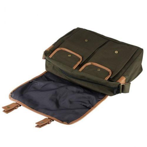 "Men's Canvas Military Satchel 14"" Laptop Shoulder Messenger School Travel Bag   eBay"