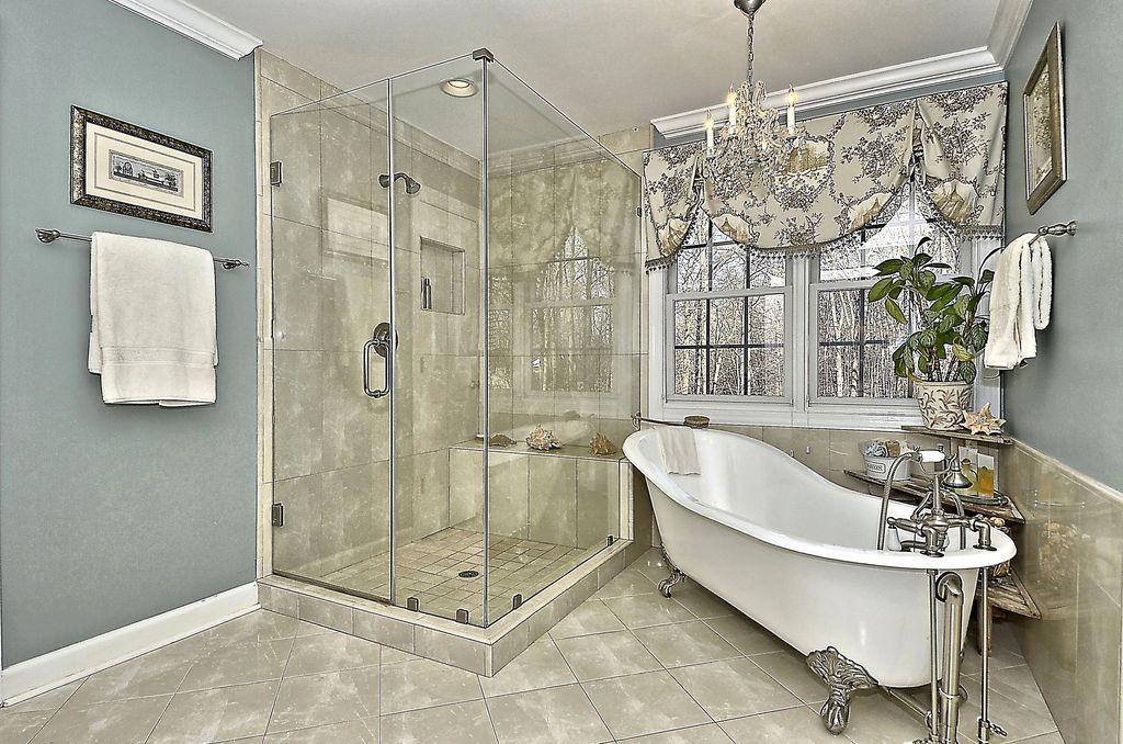 Traditional Master Bathroom With Chandelier Master Bathroom