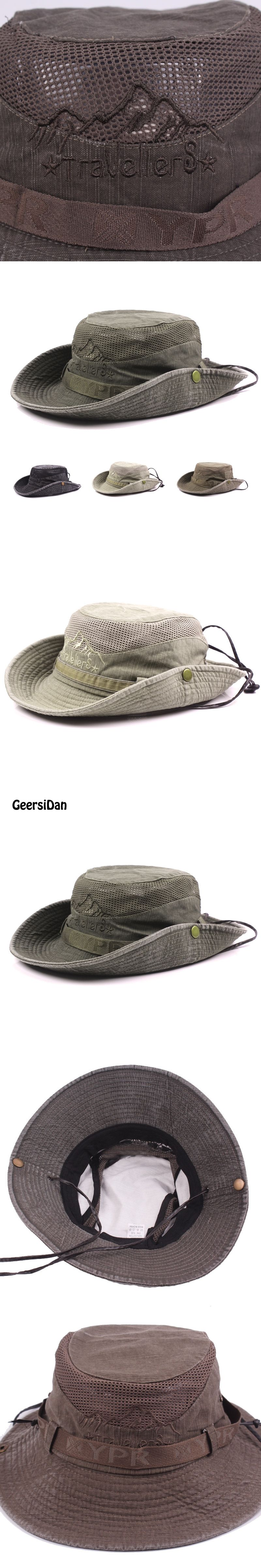 d3fec50b32b GEERSIDAN Men s Bob Summer Bucket Hats Outdoor Fishing Wide Brim Hat UV  Protection Cap Men Hiking