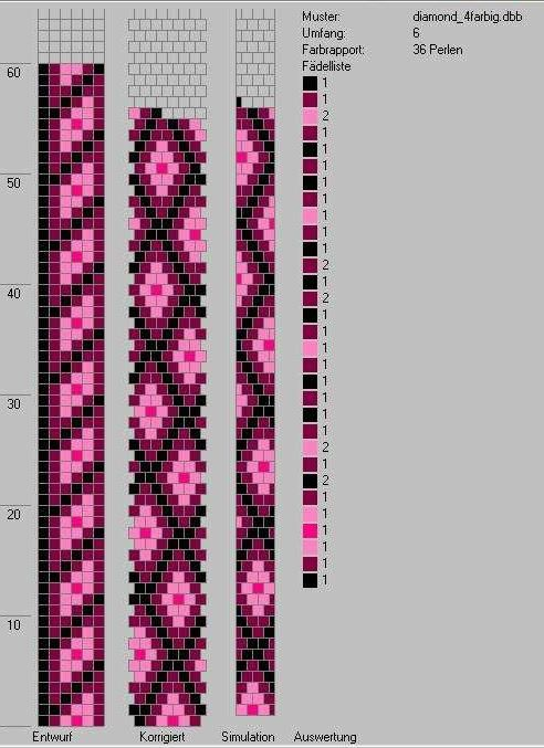 beading charts, will come out different in bead crochet ...