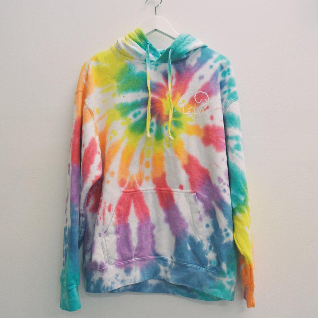 ad88e520812a84 Oversized Rainbow Tie-Dye Hoodie – Ivory Ella