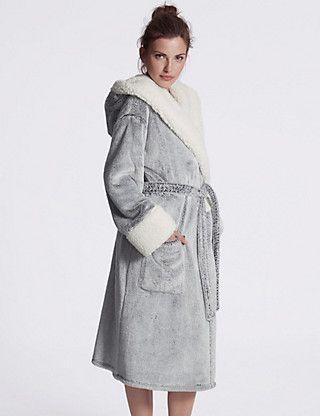 Marks and Spencer M/&S Ladies Fleece Shimmer bathrobe dressing gown women/'s soft