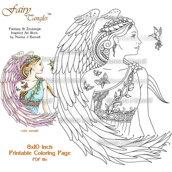 Angle Message Fairy Tangles Adult Printable Coloring Pages By Norma J Burnell Sheets Angels To Color