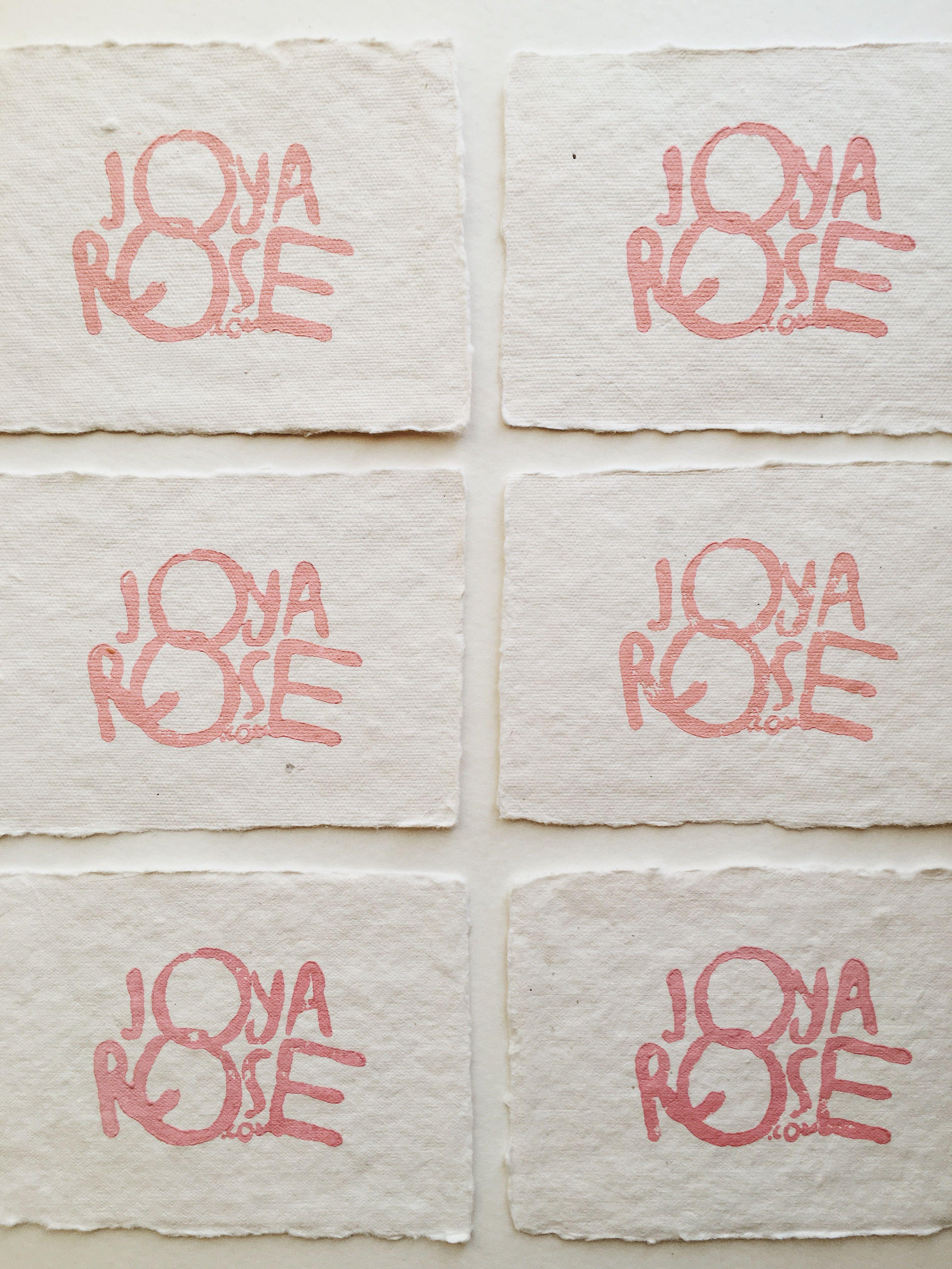 Block printed blush business cards on handmade paper by Joya Rose ...