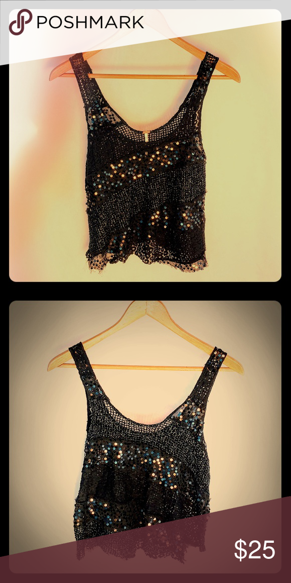 e03c04af8a44ca Free People Black Sequin Crop Top Super cute black Free People crop top  that sparkles and shines for a fun