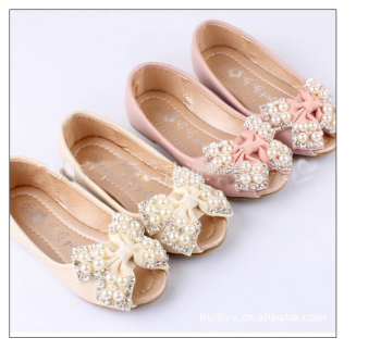e0b1d17c54e Champagne colored crystal   pearl flower girl shoes! Peep toes like the  bridesmaids  )