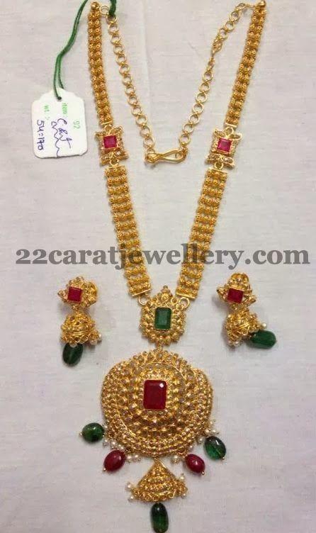 Jewellery Designs: Three Steps Long Set 54 Grams