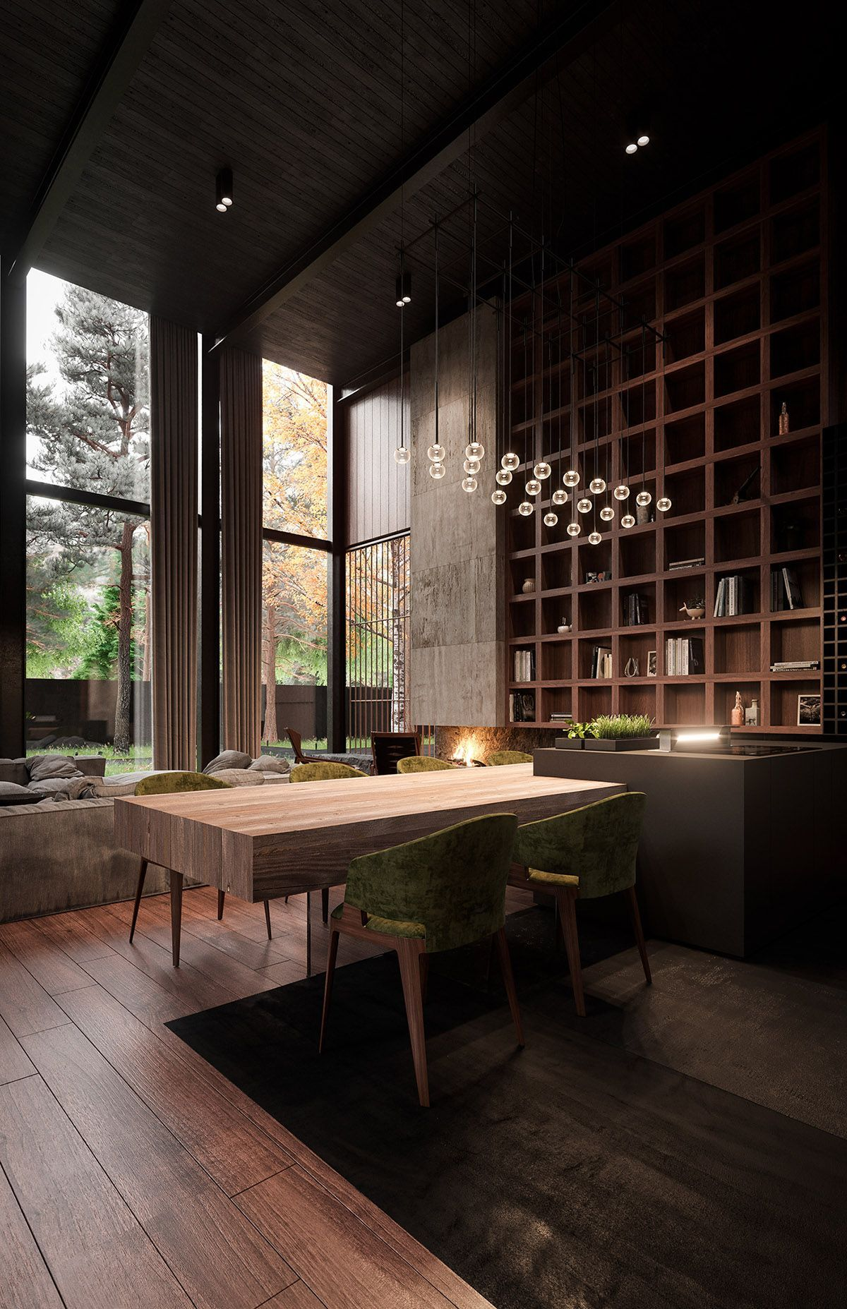 Rich & Exquisite Modern Rustic Home Interior Luxury interior packed with high-end home design inspiration; find rich wood tone paneling & slatted wall designs, bespoke furniture designs & cool decor ideas. #rustichomes