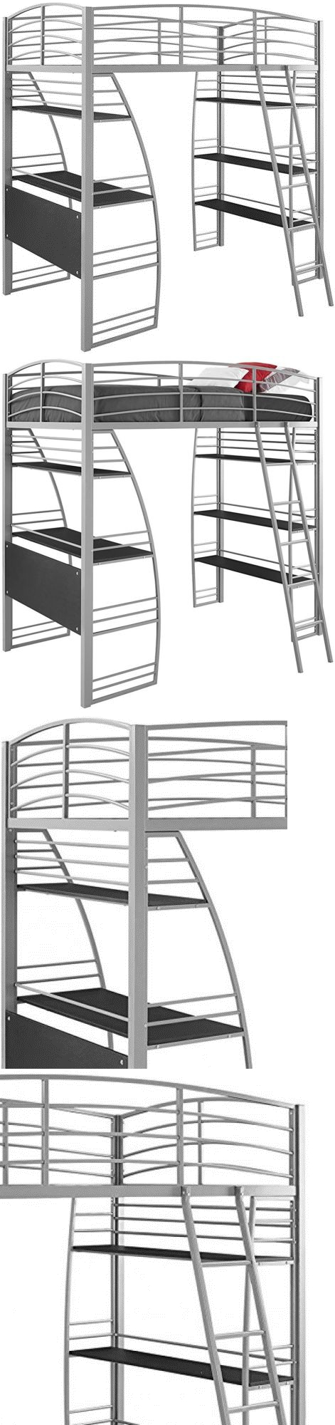 Loft bed with desk and chair  Bedroom Furniture  Dhp Studio Loft Bunk Bed Over Desk And