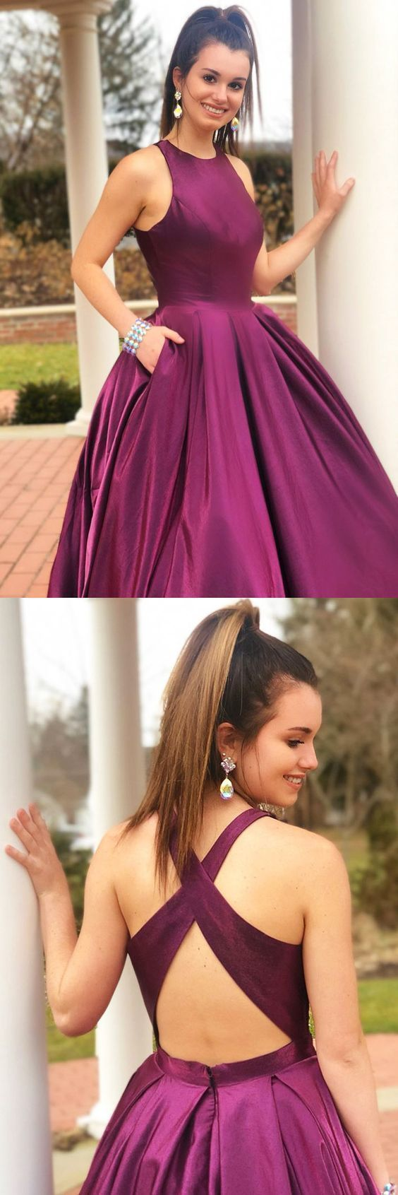 Simply Elegant Grape Long Prom Dress with Pockets