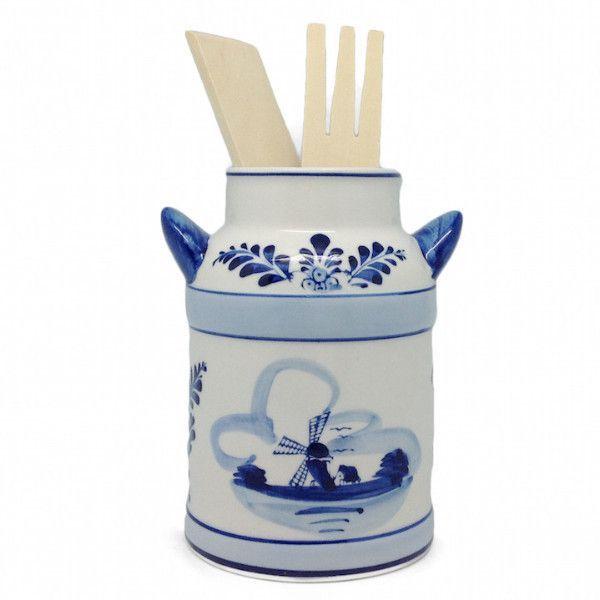 Milk Can Kitchen Utensils Holder Delft Blue