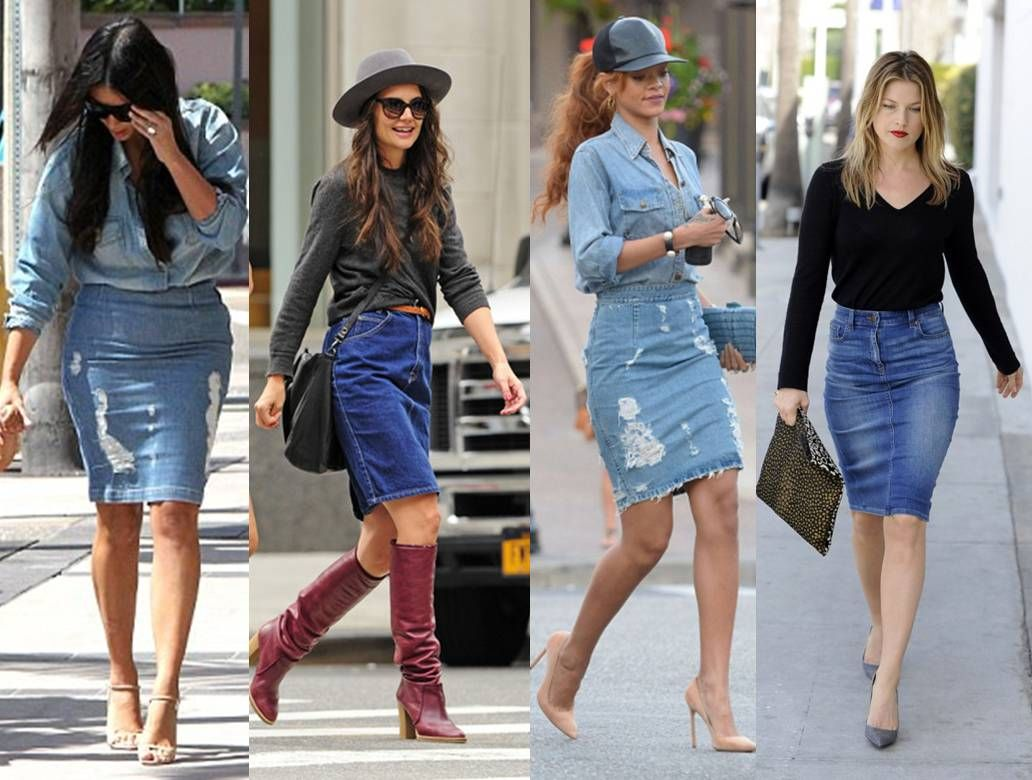 Is this two-tone denim midi skirt and denim jacket worn as a shirt ...