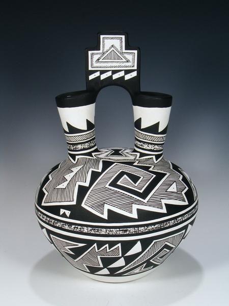 Acoma Pueblo Pottery Geometric Black And White Wedding Vase Native