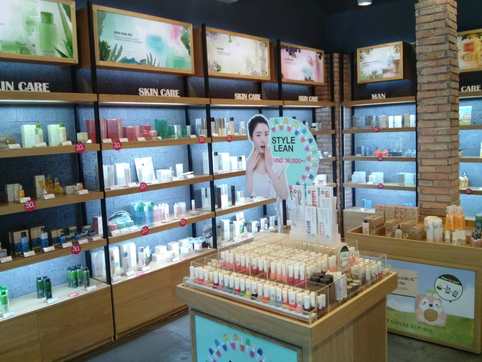 Above a display of sheet masks at a Korean cosmetic store