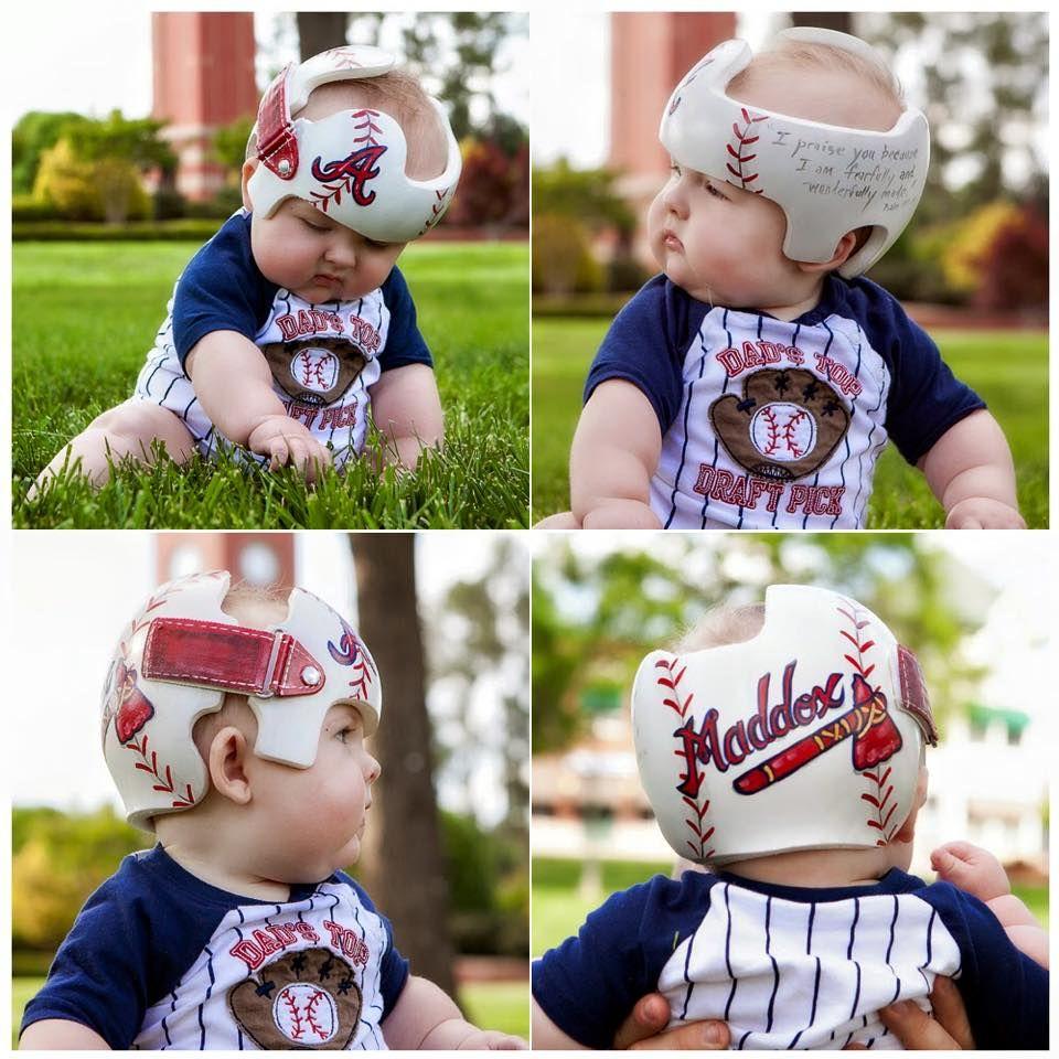 Maddox S Atlanta Braves Band Doc Band Helmet Https Www Facebook Com Pages Cranial Bandsmurals By L Baby Helmet Baby Helmet Design Boys Plagiocephaly Helmets