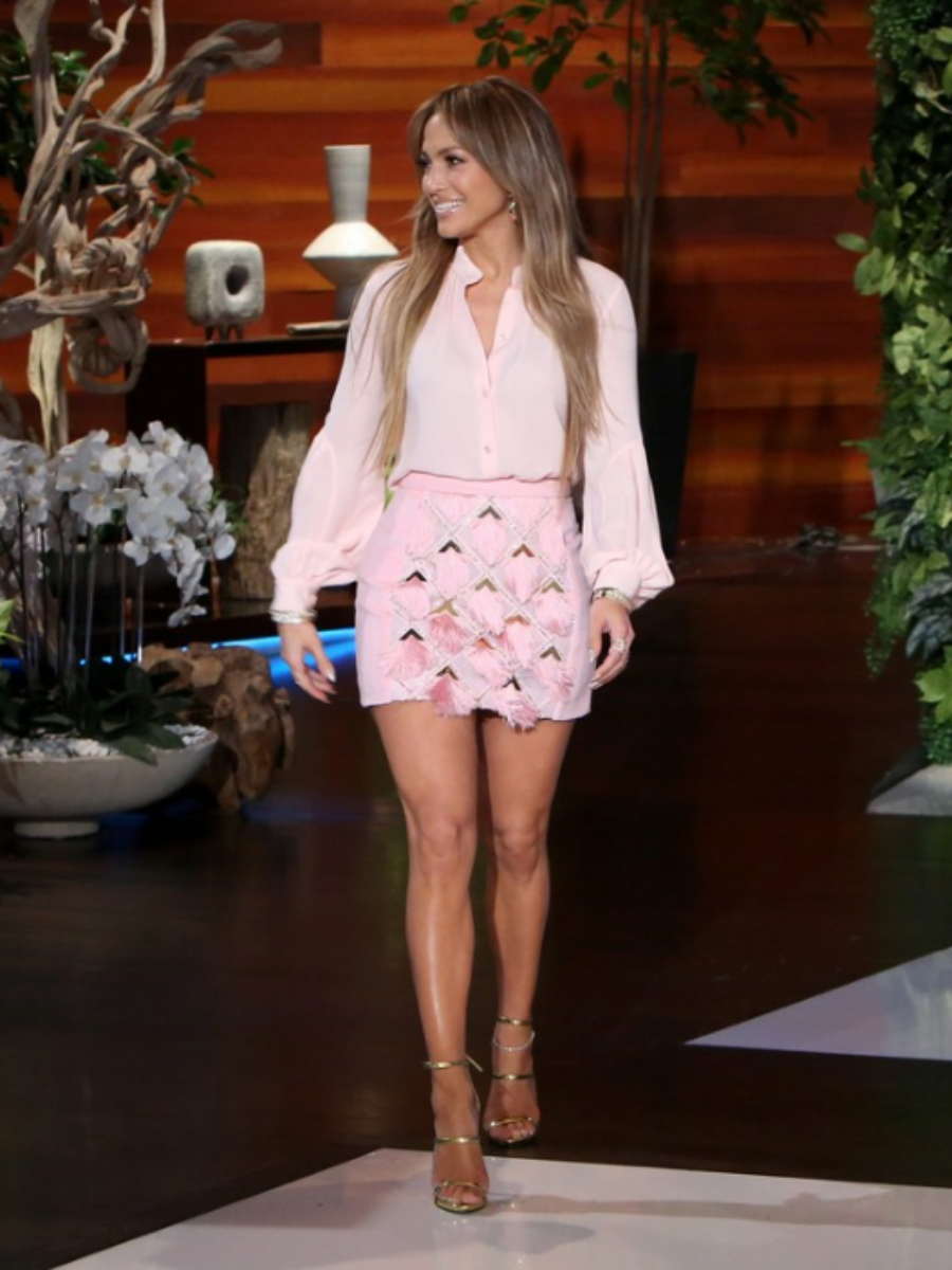 Jennifer Lopez Ellen Michael Kors Shirt Balmain Skirt