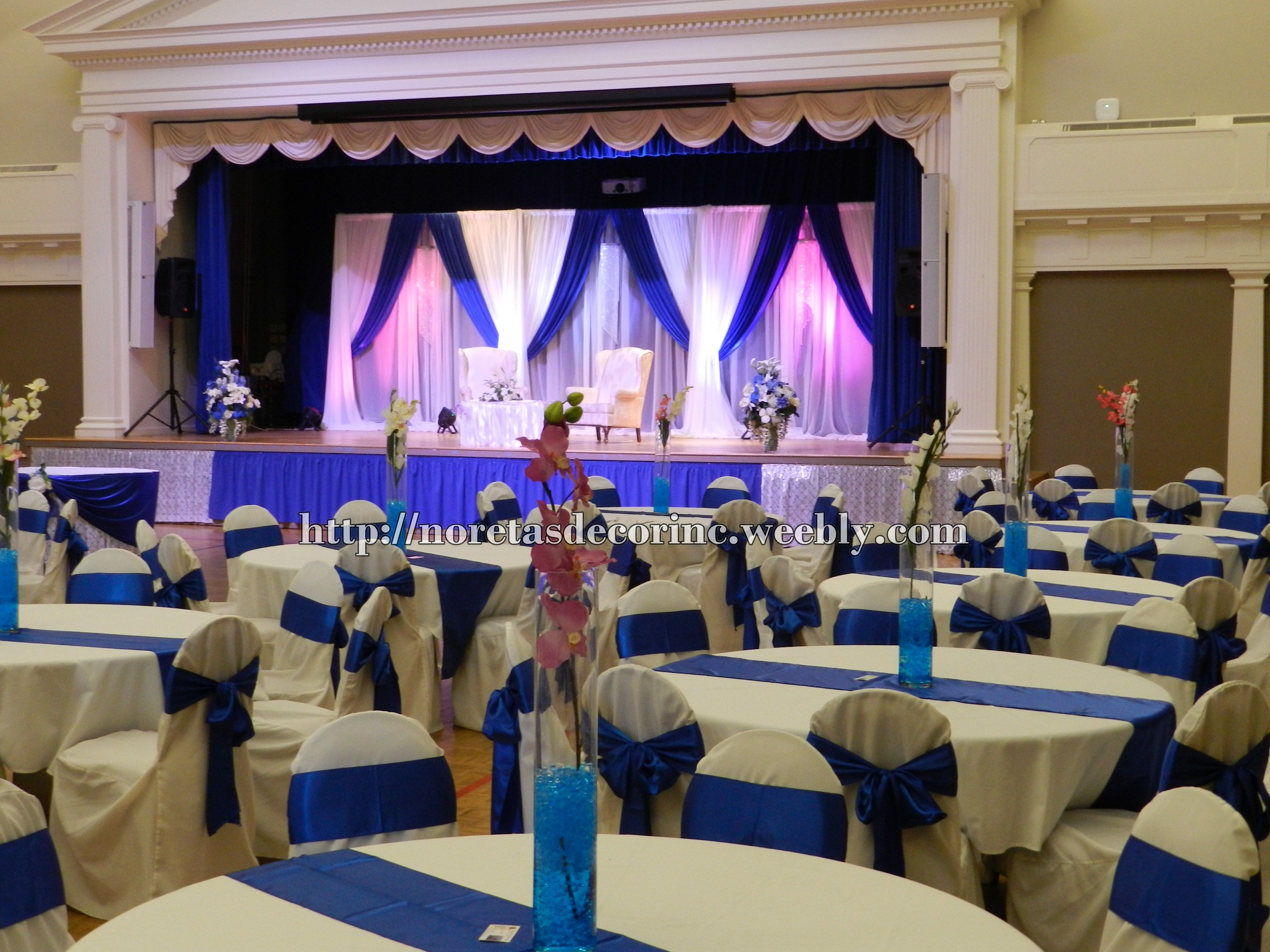 Columns ivory fabric uplighting wedding ceremony downtown double tree - Royal Blue Wedding Reception Decoration
