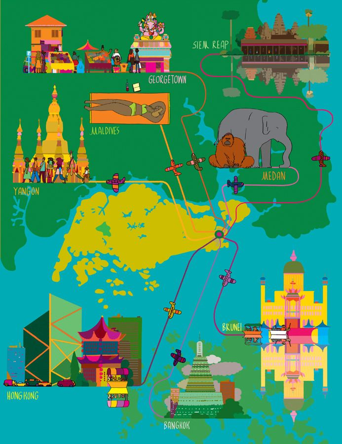 South East Asia destinations map Illustration by Celyn Brazier - copy hong kong world map asia