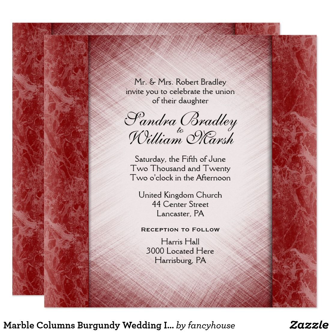 Marble Columns Burgundy Wedding Invitations