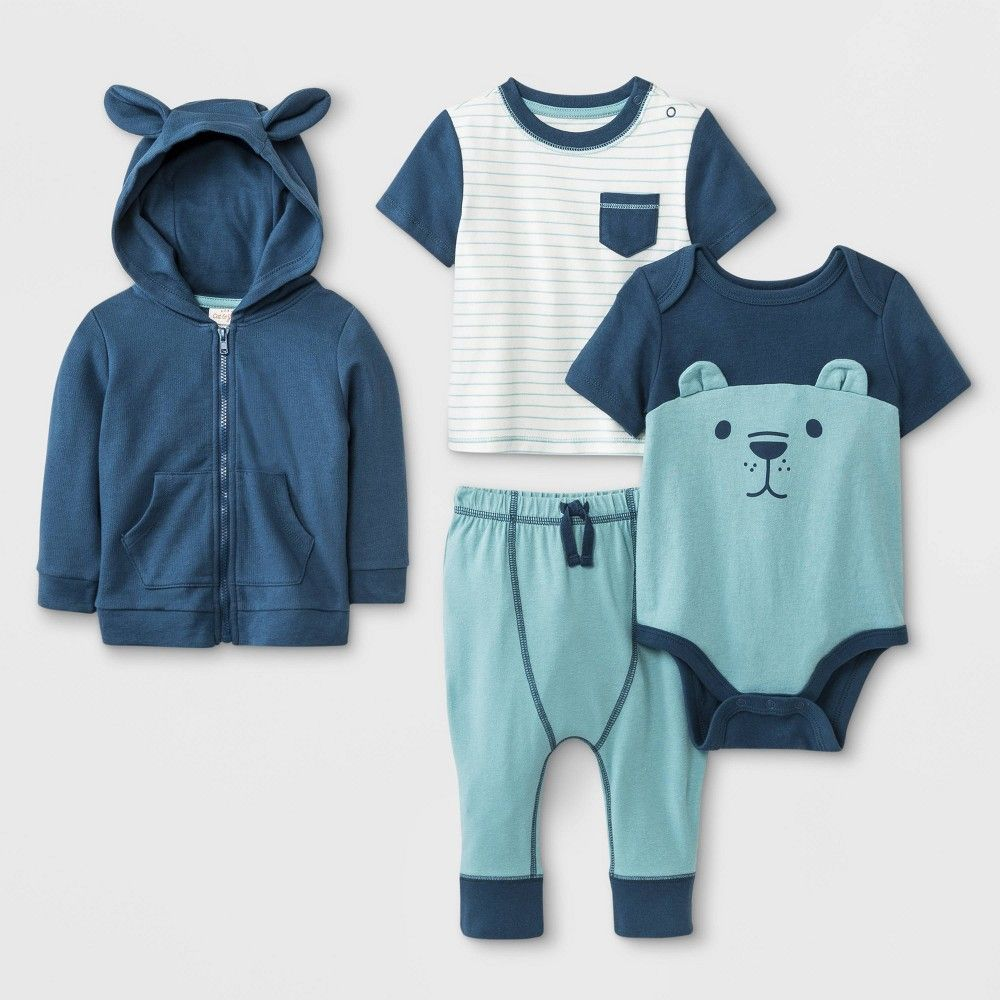 9ae2e925716e Baby Boys' Hoodie, T-Shirt, Bodysuit and Leggings Set - Cat & Jack Blue/ Green/White Newborn