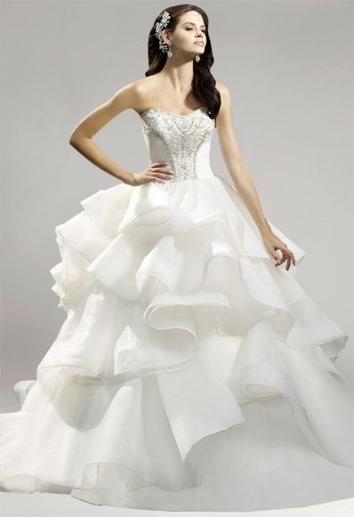 Strapless Tiered Tulle A-Line Train Bridal Wedding Dress