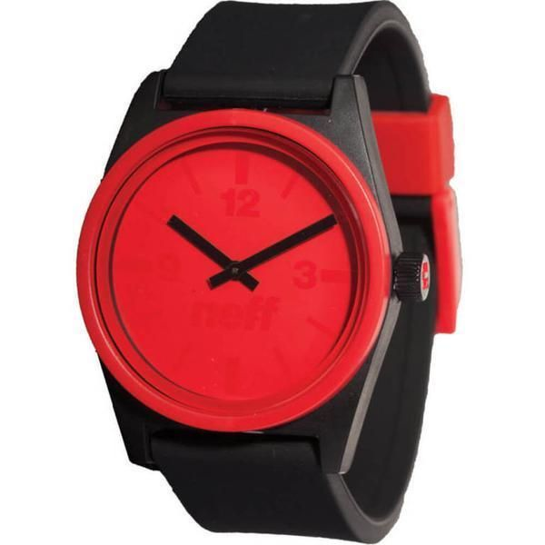 Neff Duo Watch Black Red ABS Case Silicon Band 165ft H2o Resistant #Neff #Fashion