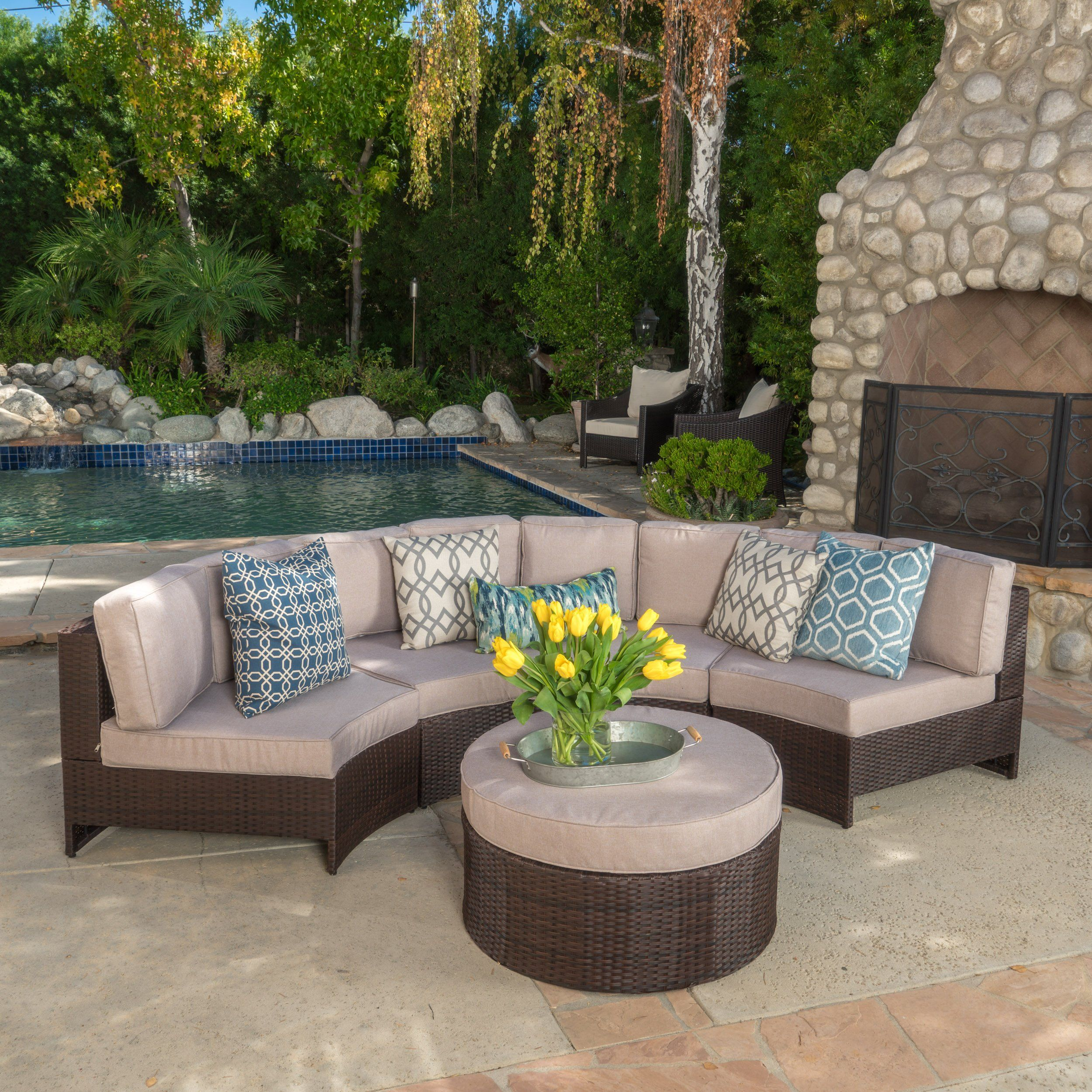 Exceptionnel Riviera Ponza 5 Piece Outdoor Wicker Patio Furniture Semicircular Sectional  Sofa Seating Set W/ Waterproof