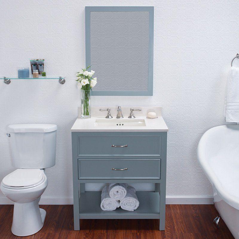 Ronbow 052730 F21 Newcastle 30 In Single Bathroom Vanity Set Biscuit Stone Gray