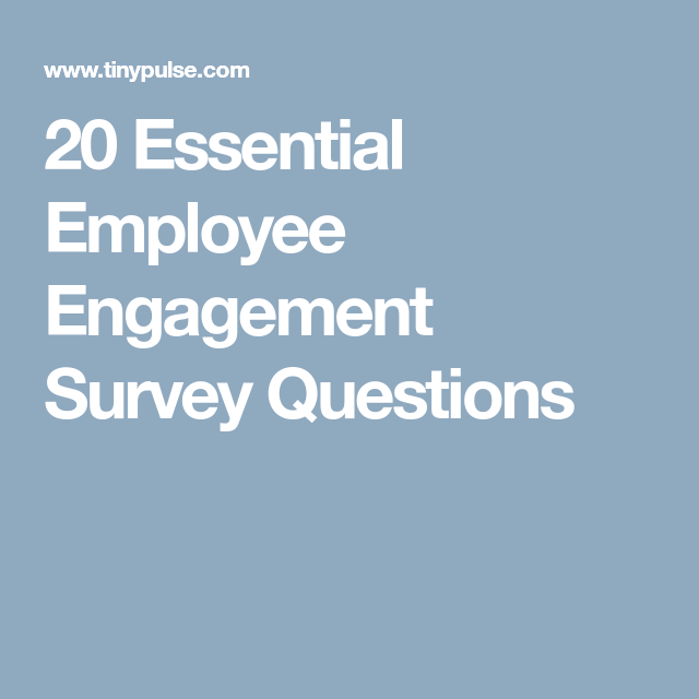 Essential Employee Engagement Survey Questions  Work