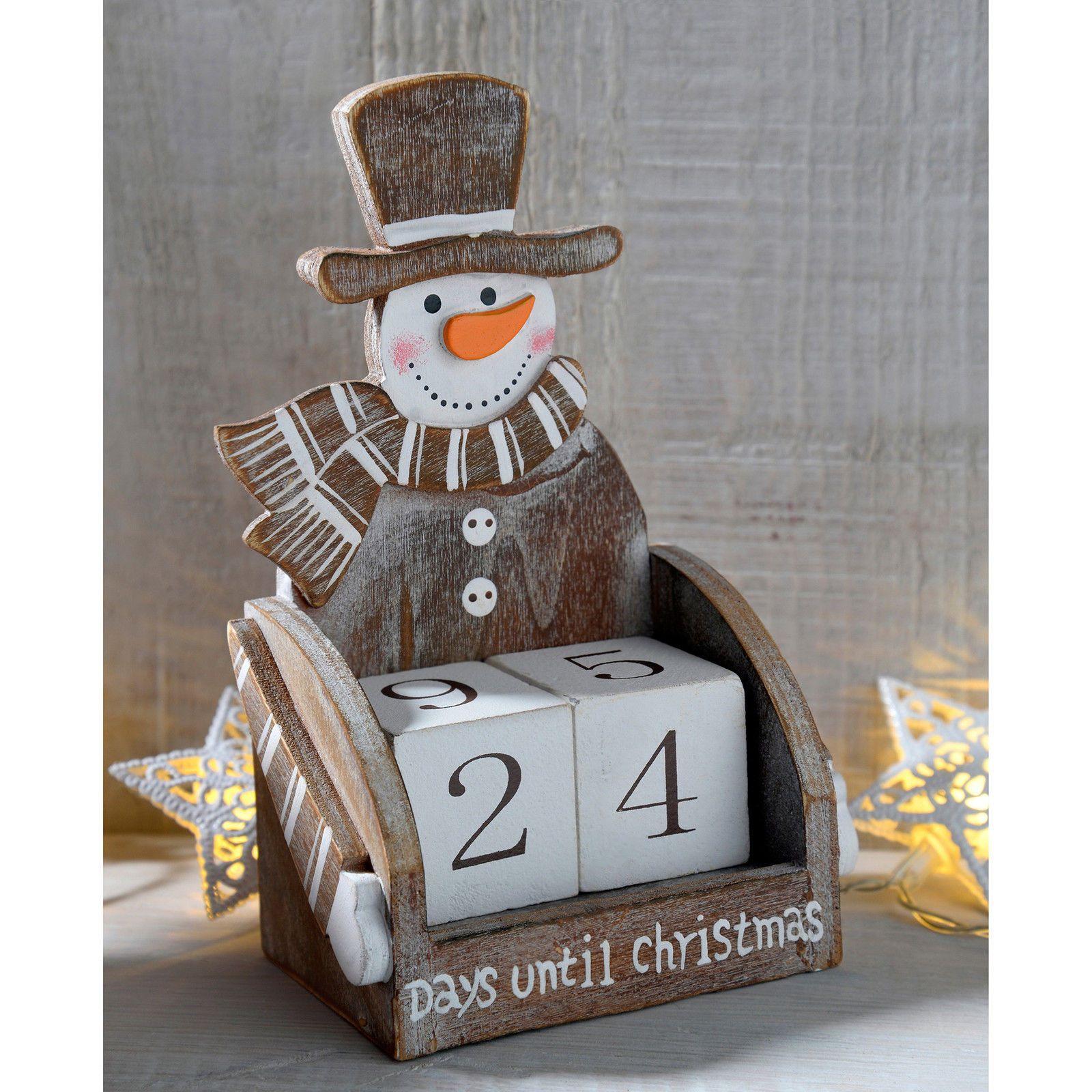 Wooden Advent Calendar Christmas Decoration, Santa Snowman Train Reindeer House