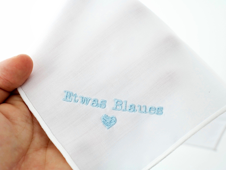 Etwas Blaues Fur Die Braut Besticktes Weisses Taschentuch Stoff Brautgeschenk Hochzeit Hochzeitsbrauch