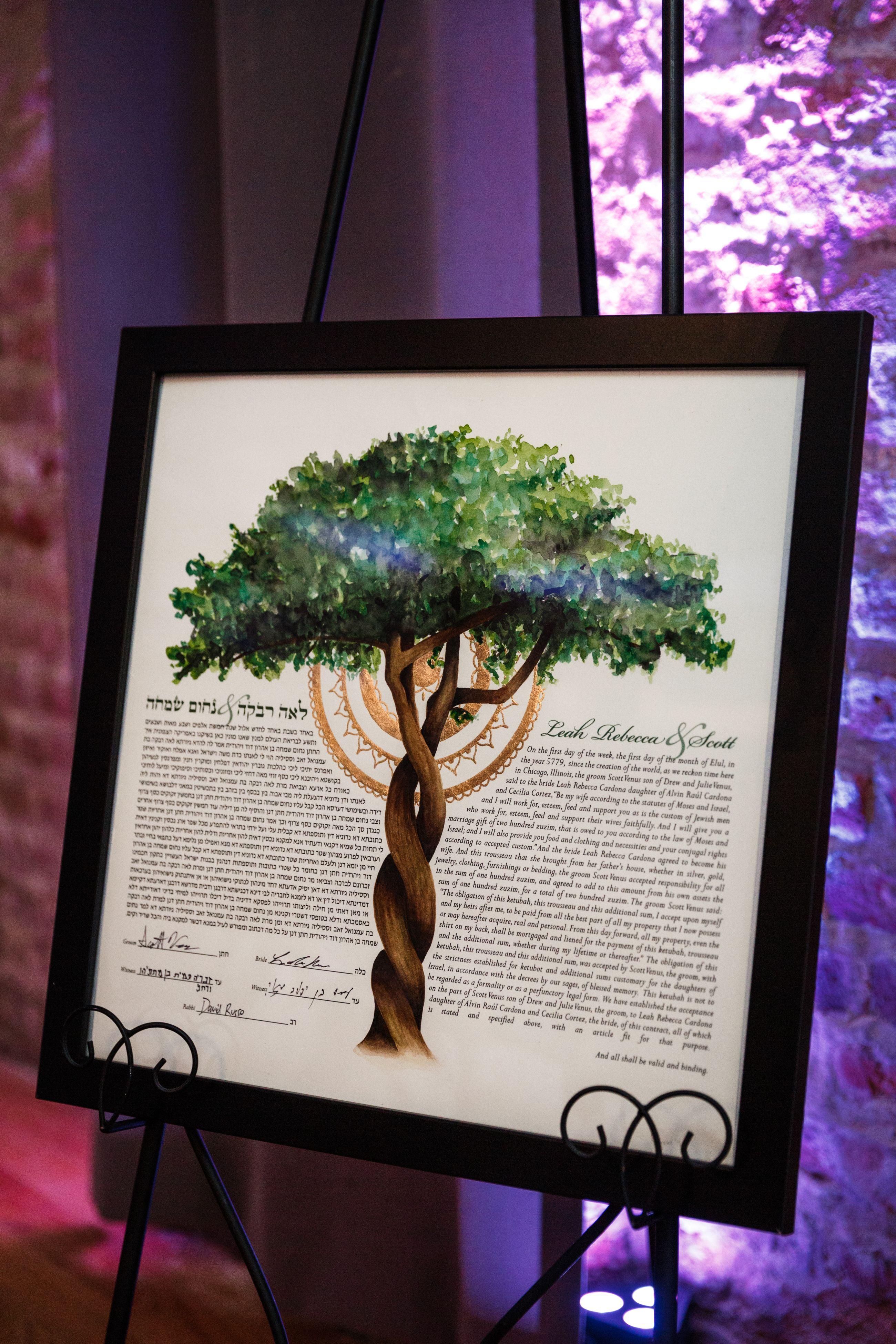 Ketubah Tree Of Life Hand Painted Watercolor Original Or Print