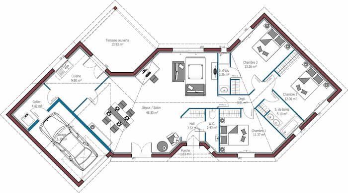 Diamant 114 m 3 chambres mod les de maison c te atlantique mca plan maison in 2019 - Mca maisons de la cote atlantique ...