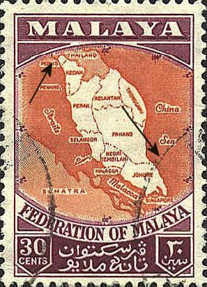 Federation of Malaya Stamp, issued in 1957, display a map of