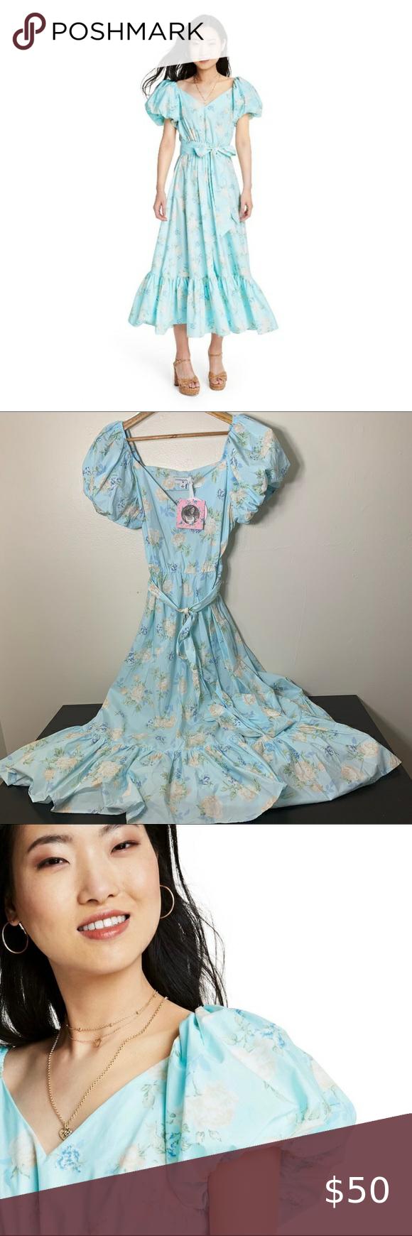 Loveshackfancy X Target Estelle Dress Sz 14 Estelle Dress Pale Blue Floral Dress Puff Sleeve Dresses [ 1740 x 580 Pixel ]