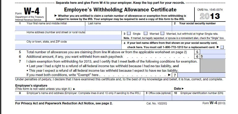 Download 2013 W-4 Form Federal Tax Form special stuff Pinterest - printable tax form