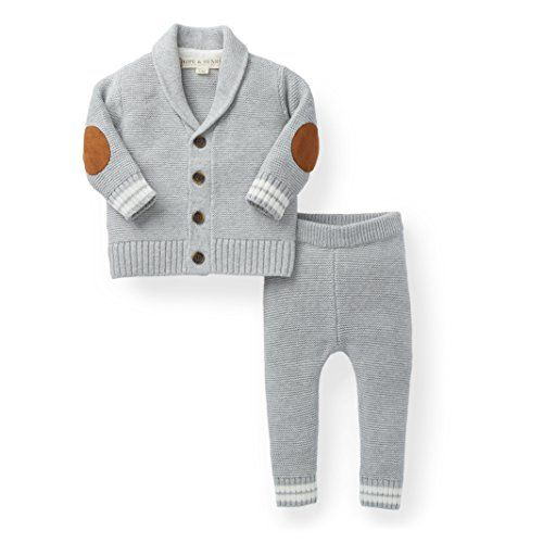 7851b4a35f84 Hope  amp  Henry Layette Boy Grey Cardigan and Sweater Leggin... https