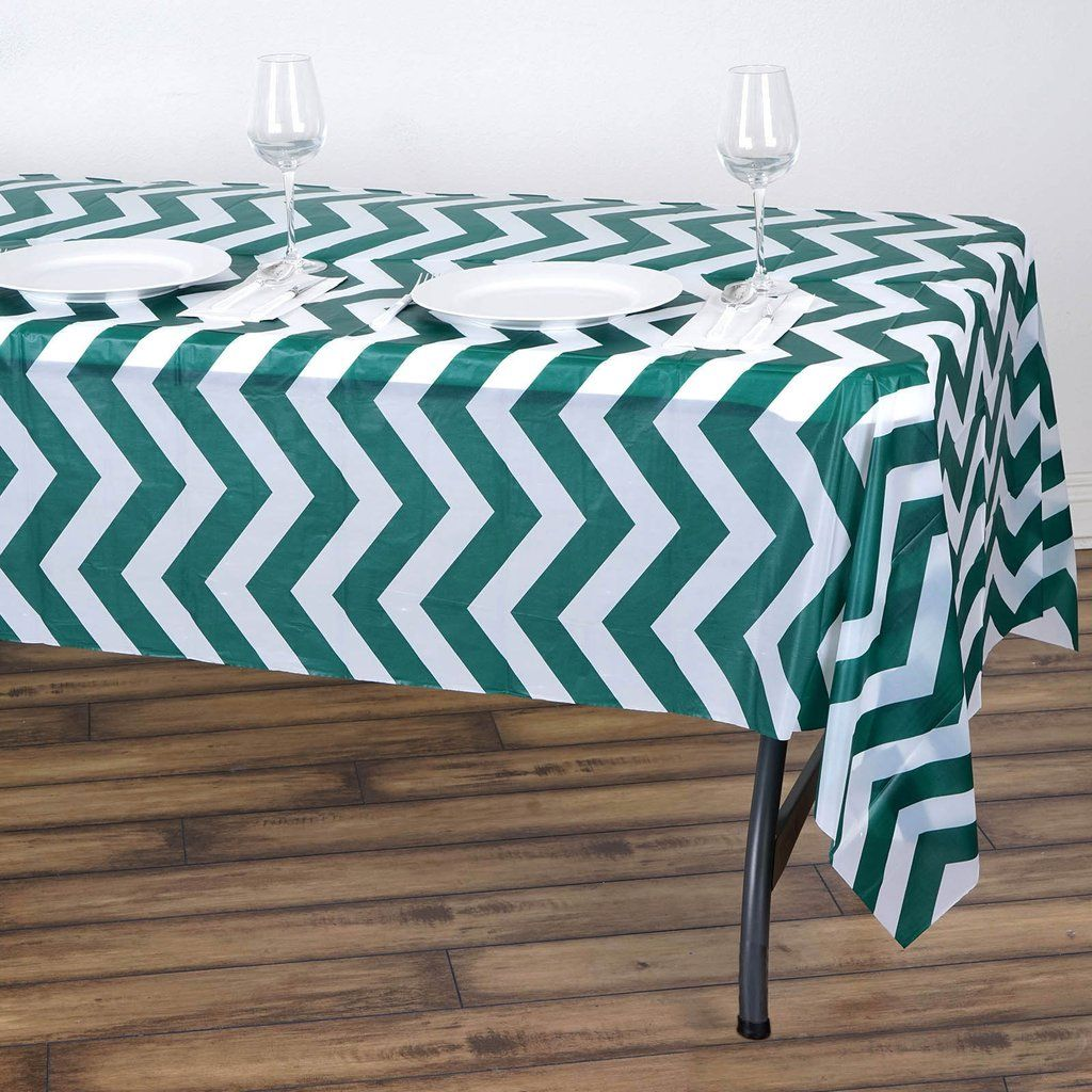 54 X 108 Hunter Emerald Green 10 Mil Thick Chevron Waterproof Tablecloth Pvc Rectangle Disposable Tablecloth In 2020 Waterproof Tablecloth Plastic Table Covers Vinyl Tablecloth