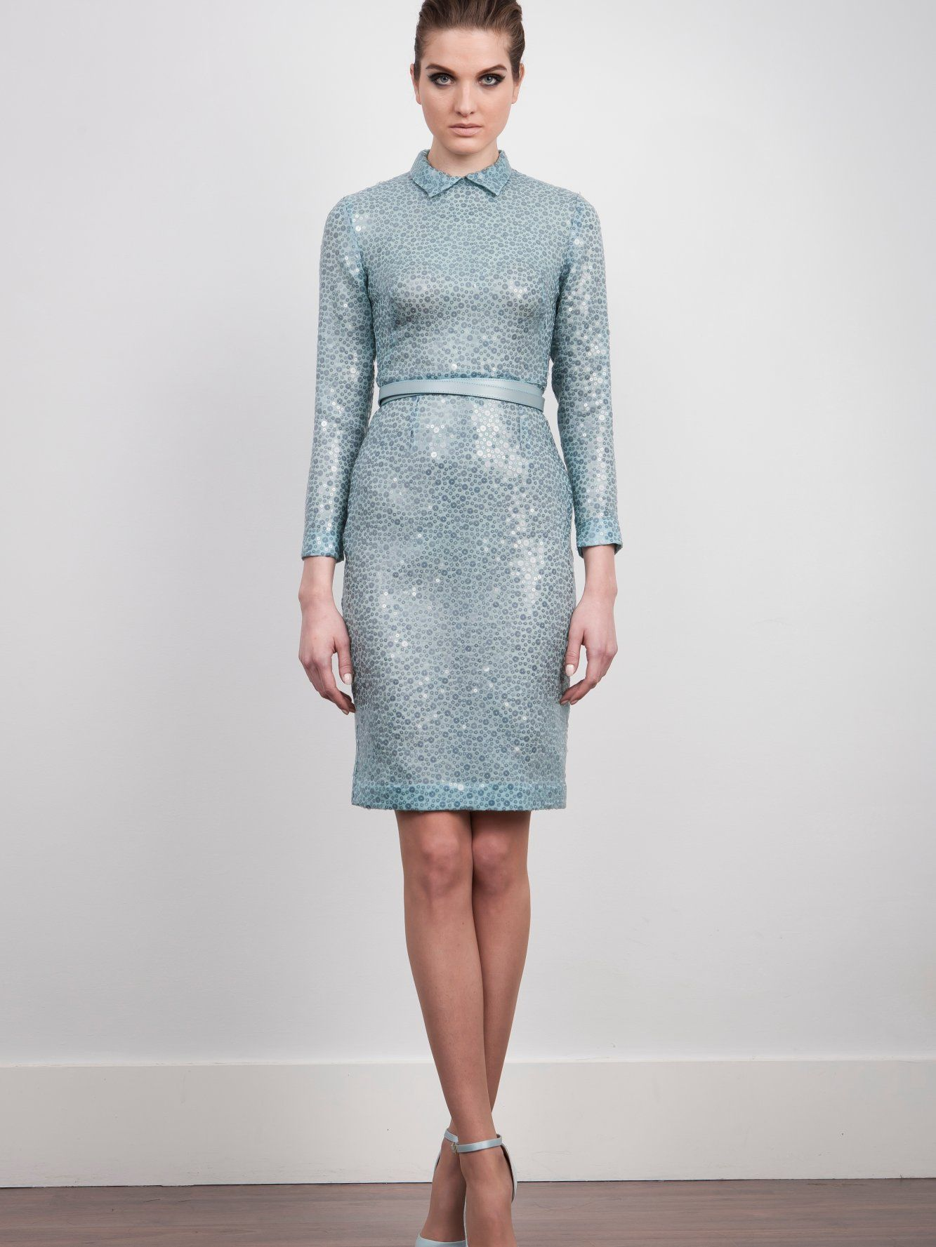 The 2nd Skin Co. Pale blue dress. Paillettes and silk. Long sleeve ...