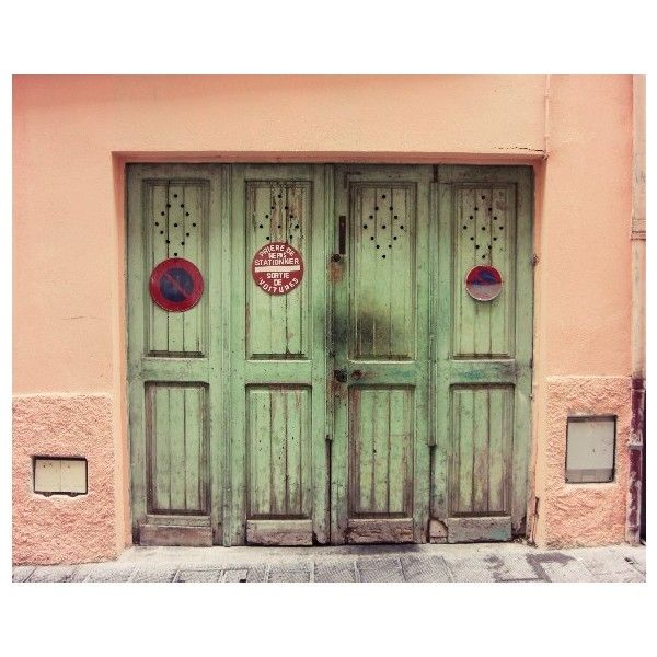 30% off - Celadon doors - Travel Photography wooden doors . coral pink... ❤ liked on Polyvore