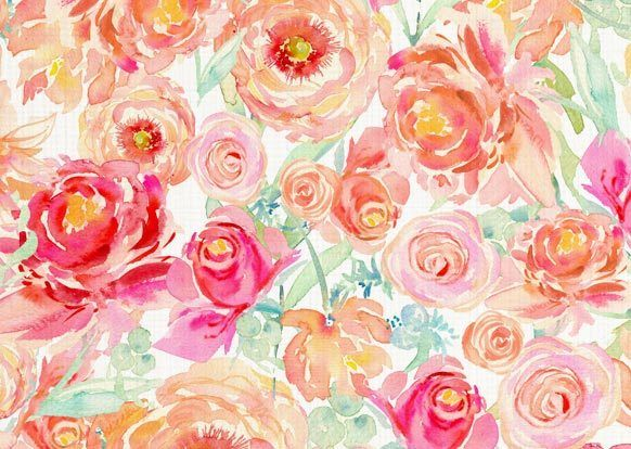 Image Of Watercolor Floral Fabric By The Yard