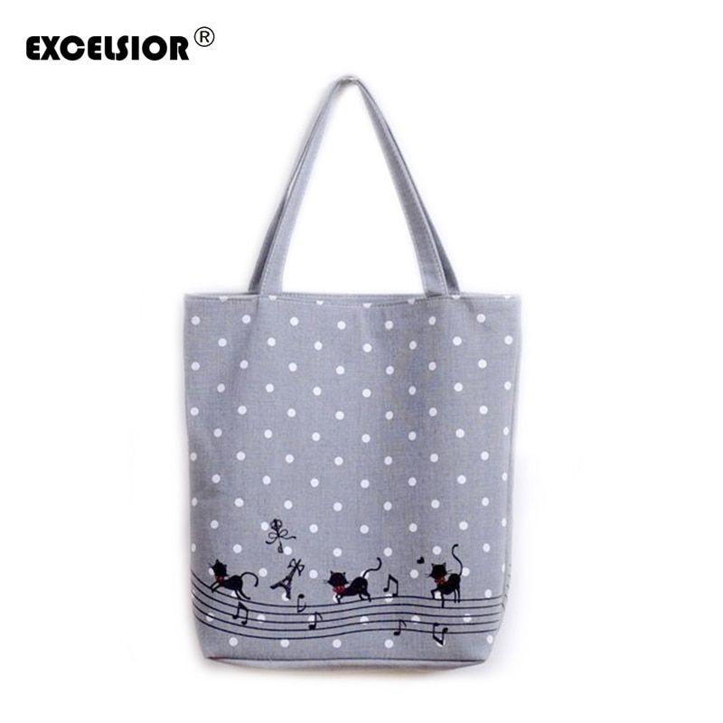 EXCELSIOR Women s Cute Cartoon Music Cats Printed Shopping Handbag Ladies  One Shoulder Canvas Bags Female Beach Bag Sac A Main  алиэкспресс   aliexpress 7ed6be9006e7b