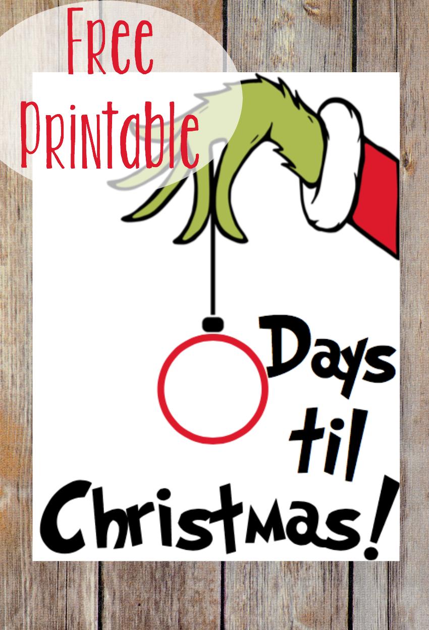 Countdown To Christmas Grinch Printable Christmas