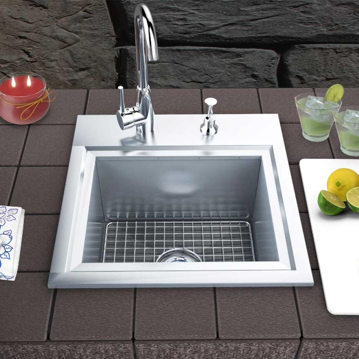 Sunstone Premium 21 X 20 Outdoor Rated Stainless Steel Drop In Sink With Hot Cold Faucet B Ps21 Bbqguys Sink Drop In Sink Outdoor Kitchen