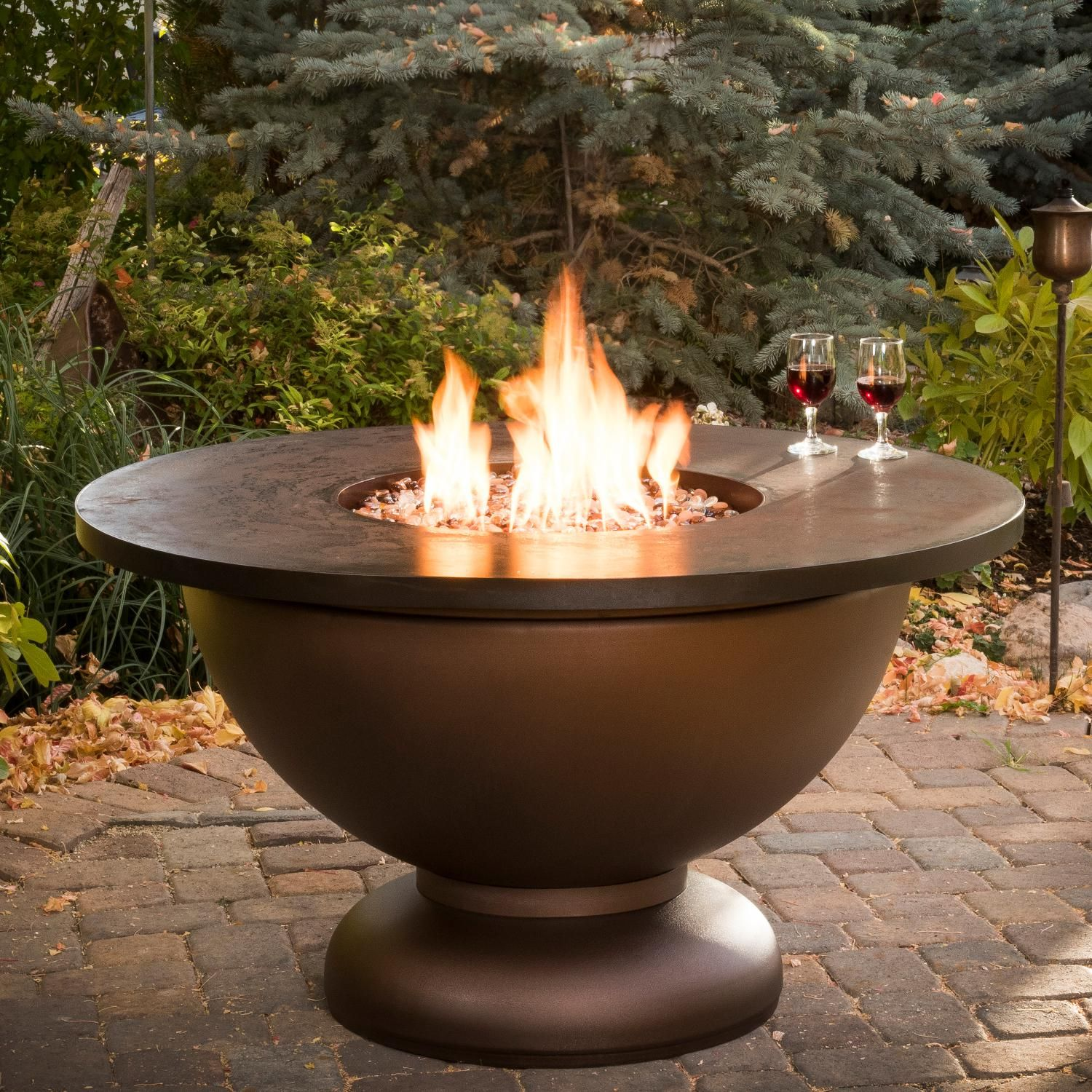 Cc products round propane gas bowl fire tables fire pit