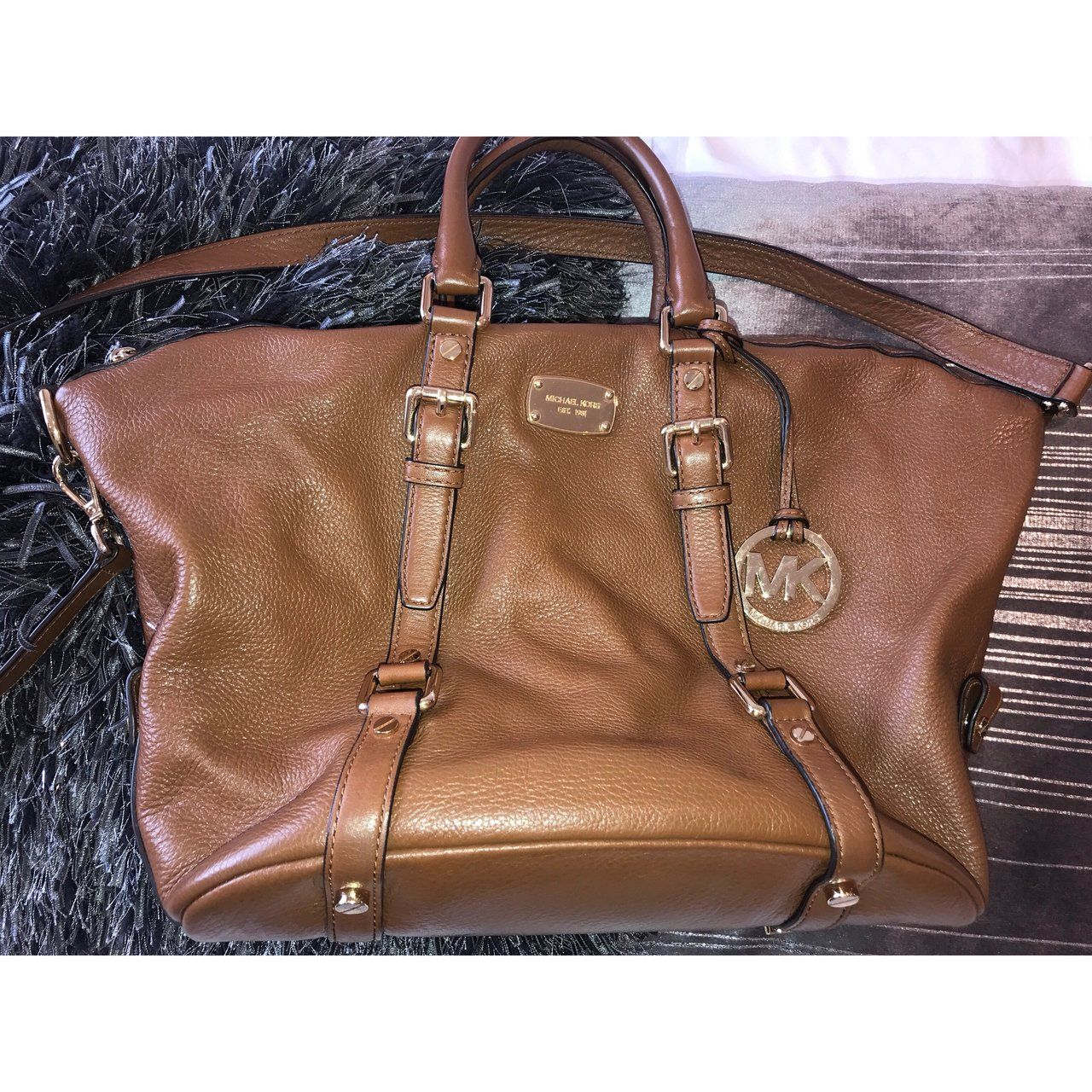 676828c7d94c Brown/tan Michael kors bag with long strap and handle but as - Depop ...