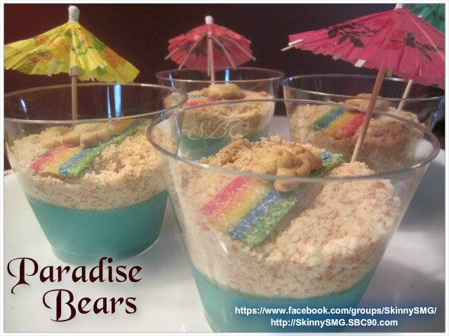 Paradise Bears - great for that summer fun get together Full recipe with instructions are available in my healthy lifestyle group on facebook at: https://www.facebook.com/groups/SkinnySMG/ Or click on the source code to view on my public timeline. Join us on our journey to a healthier lifestyle! http://SkinnySMG.SBC90.com