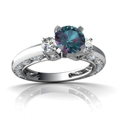 Created Alexandrite 14kt White Gold Engagement Ring I don t care