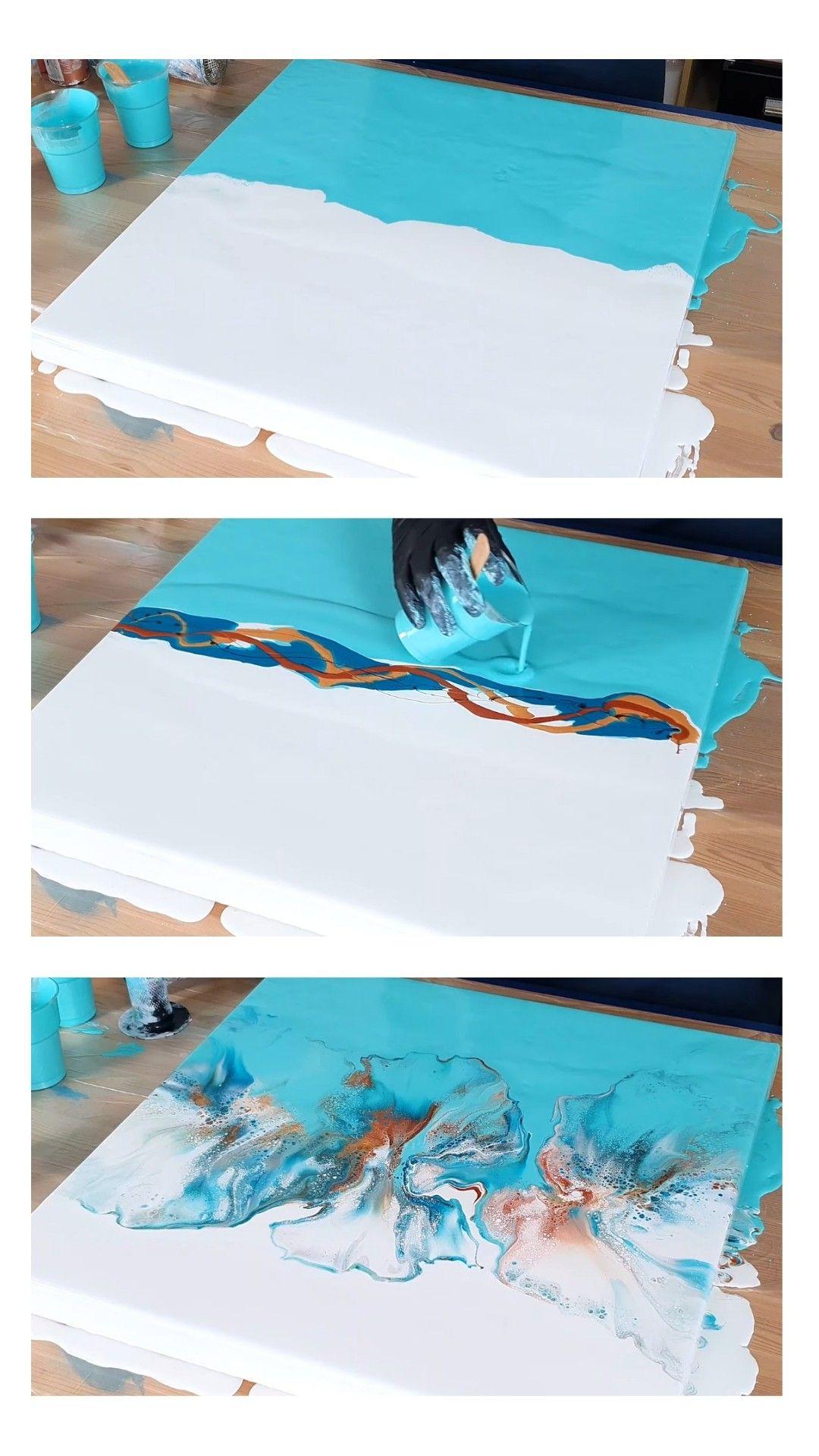 Tutorial! Acrylic pouring dutch pour fluid split color abstract painting